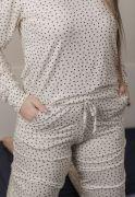 Pijama Manga Longa em Visco Liz Branco
