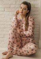 Pijama Manga Longa em Visco Liz Rosa Poá